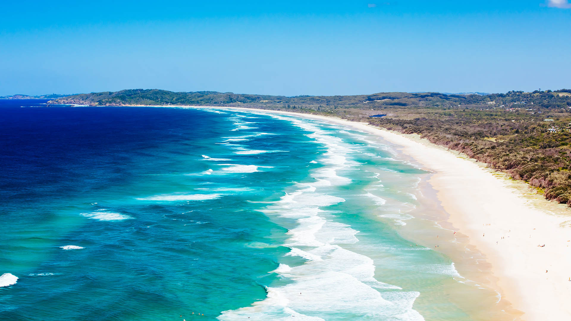 A famous view from Lighthouse Rd over Tallows Beach and Cape Byron in Byron Bay, New South Wales, Australia